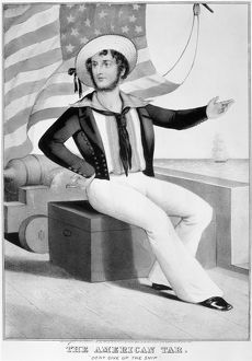 AMERICAN SAILOR, 1845. The American tar. Lithograph, 1845, by Currier & Ives