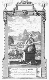 Amida, or Amitabha, principal buddha of the Pure Land sect of Buddhism. Copper engraving