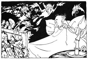 ANDERSEN: OLE LUKÃ-JE. Drawing by Arthur Rackham for the fairy tale by Hans Christian