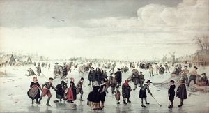 ARENTSZ: SKATERS. Arent Arentsz: Skaters on the Amstel: Oil on wood, early 17th century.