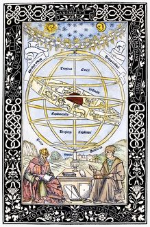 ARMILLARY SPHERE, 1543. Ptolemy (left), the Alexandrian astronomer, and the German mathematician