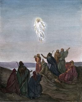 THE ASCENSION. Christ ascending to heaven. Illustration, c18th century