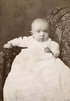 BABY, 1880. Portrait of a baby. Carte de visite from a photography studio in Crown Point