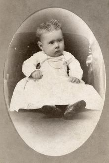 BABY, c1880. Portrait of a baby. Carte de visite from a photography studio in Chicago
