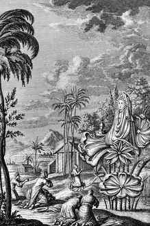 BABYLON: SUN WORSHIP. The cult of sun worship in ancient Babylon. Line engraving, 1733