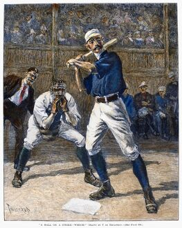 'A Ball or a Strike - Which?' Wood engraving, American, 1888, after Thure