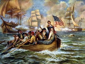 BATTLE OF LAKE ERIE, 1813. Oliver Hazard Perry standing on front of small boat