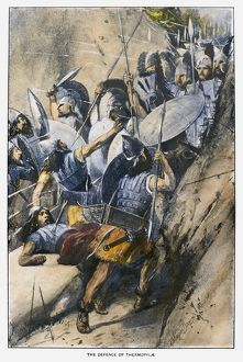 BATTLE OF THERMOPYLAE. The Greek defense at the pass of Thermopylae against the