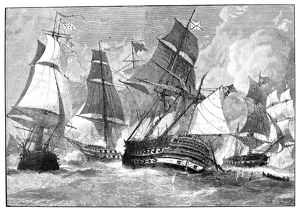 The Battle of Virginia Capes between French and English fleets during the American Revolution