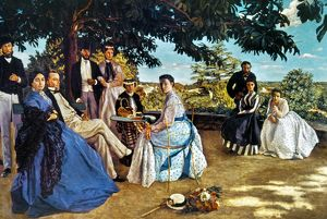 BAZILLE: FAMILY, 1864. Family Reunion. Oil on canvas by Frederic Bazille, 1864.