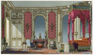 BEDROOM, c1750. A Rococo bedroom in a French home. Lithograph, c1875