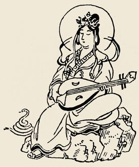 Benten, or Benzaiten, the Japanese Buddhist goddess of music, eloquence and wealth, playing a biwa