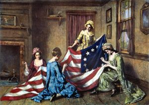 Betsy Ross sewing the first American flag. Painting by Henry Mosler (1841-1920).