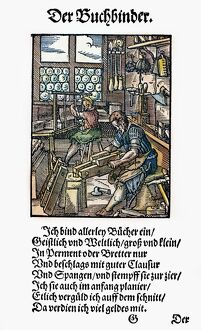 BOOKBINDER, 1568. 'The bookbinder binds large and small books on all subjects in