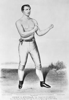 Boxer John Camel Heenan, 'The Benicia Boy' (1833-1873). Lithograph by Currier & Ives