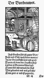 food drink/brewing beer 1568 brewer woodcut 1568 jost