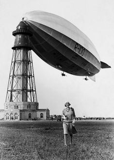 BRITISH AIRSHIP, c1930. The R-1000 at its mooring mast, c1930.