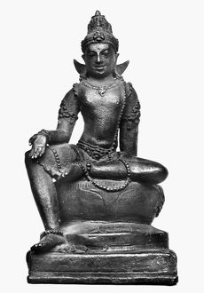 Bronze Buddha statue. Javanese, 10th century A.D. Height: six inches.