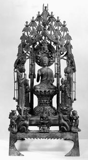 Bronze dedicatory group of Buddha Amitabha surrounded by attendants. Height: 29 1/2 in