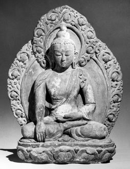 Buddha in earth-touching mudra (gesture). Terracotta, 16th-17th century.
