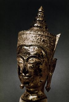 Buddha with princely headdress. Gilded bronze, Thai, 15th-16th century.
