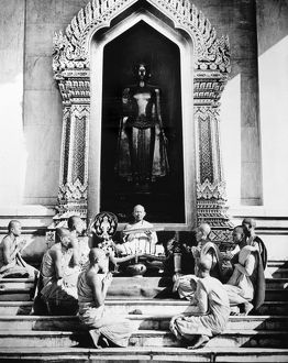 Buddhist monks at a temple in Indonesia. Photographed in 1954.