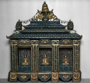 Buddhist shrine with three images of Buddhist dieties, inlaid with semi-precious gems