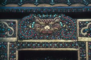 Detail of a Buddhist shrine from Nepal, inlaid with precious stones, 19th century.