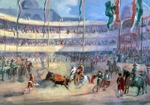 Bullfight arena of San Carlos, Mexico City. Oil on canvas, 1833, by Johann Moritz Rugendas