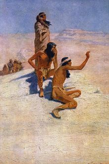 CABEZA de VACA (1490?-?1557) in the desert. Painting, 1906, by Frederic Remington.
