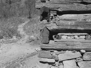CABIN CONSTRUCTION, 1935. A detail of the construction of a cabin in Corbin Hollow