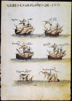CABRAL: FLEET, 1500. Six of the 13 Portuguese ships in Pedro Alvares Cabral's