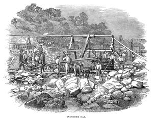 CALIFORNIA: GOLD MINERS. Gold miners in California. Wood engraving, English, 1853