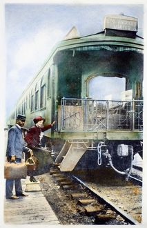 CALIFORNIA: RAILROAD, c1910. Boarding the Los Angeles Limited at an unidentified