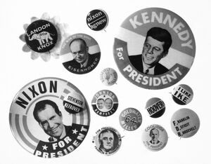 CAMPAIGN BUTTONS. An asssortment of 20th century American presidential campaign buttons.