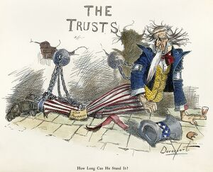 CARTOON: ANTI-TRUST, 1897. 'How long can he stand it?' Cartoon by Homer Davenport