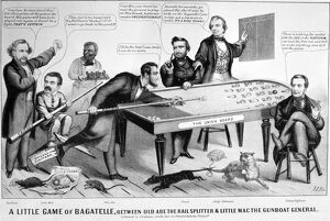 CARTOON: ELECTION OF 1864. 'A little game of bagatelle, between Old Abe the railsplitter