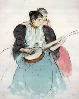 CASSATT: BANJO LESSON. 'The Banjo Lesson.' Drypoint and aquatint by Mary Cassatt