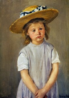 CASSATT: GIRL, c1886. A Girl with a Straw Hat. Canvas by Mary Cassatt.
