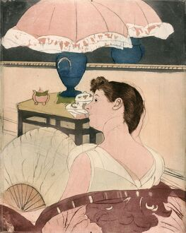 CASSATT: THE LAMP, 1891. 'The Lamp.' Drypoint and aquatint by Mary Cassatt, 1891