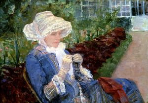 CASSATT: LYDIA, 1880. Lydia Crocheting in the Garden at Marly. Oil on canvas by Mary Cassatt