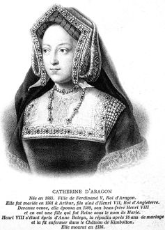CATHERINE OF ARAGON (1485-1536). First wife of King Henry VIII of England. Lithograph