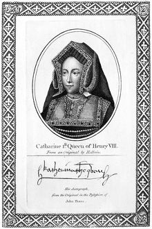 CATHERINE OF ARAGON (1485-1536). First wife of King Henry VIII of England. Etching
