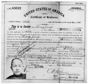 CERTIFICATE OF RESIDENCE. Certificate of Residence for Hang Jung, a Chinese immigrant
