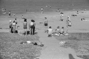 CHICAGO: BEACH, 1941. The Ohio Street bathing beach on Lake Michigan in Chicago, Illinois