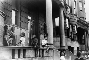 CHICAGO: CHILDREN, 1941. Children in front of apartment buildings on the South Side
