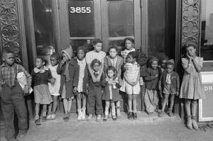 CHICAGO: CHILDREN, 1941. Group of African American children outside a building