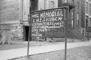 whats new b/chicago church 1941 sign outside church south