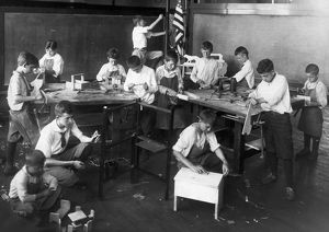 CHICAGO: CLASSROOM, 1917. A woodworking class in an open-air classroom in Chicago