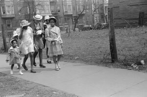 CHICAGO: FAMILY, 1941. An African American family on their way to church on the